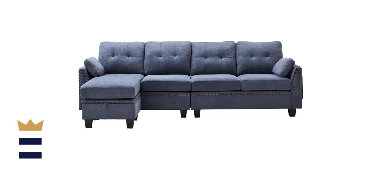 Sylvette Wide Reversible Sofa and Chaise with Ottoman