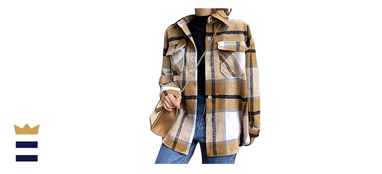 Tanming Brushed Flannel Plaid Shirt Jacket