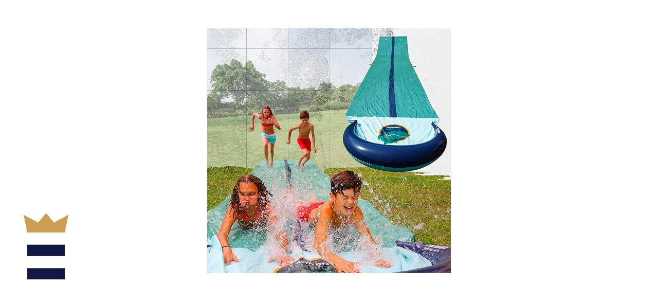 TEAM MAGNUS Water Slide - Central Sprinkler and XL Crashpad for Backyard Races