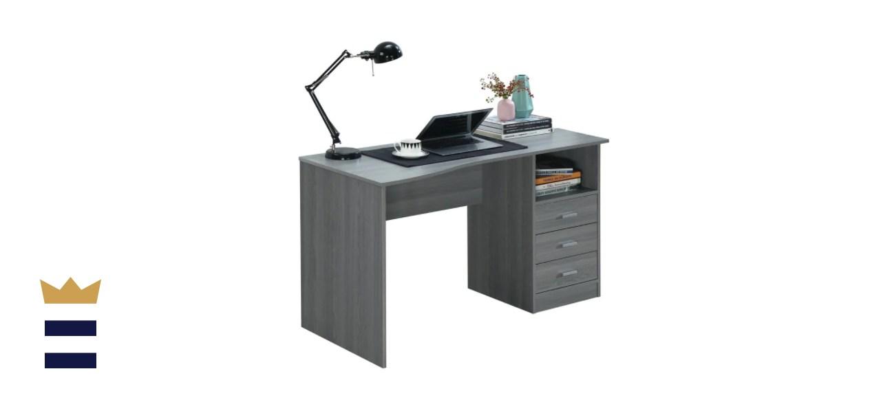 Techni Mobili Rectangular Gray 3 Drawer Computer Desk