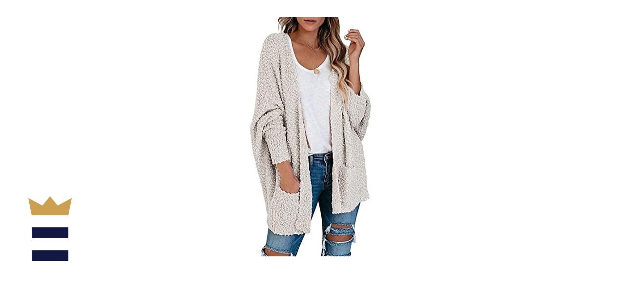 TECREW Women's Fuzzy Popcorn Cardigan Batwing Sleeve Open Front Chunky Sweater Outwear