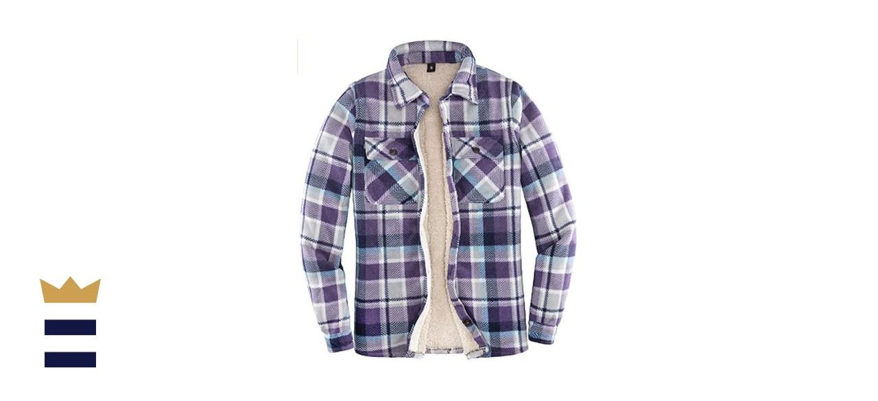 Thcreasa Sherpa Fleece-Lined Flannel Jacket