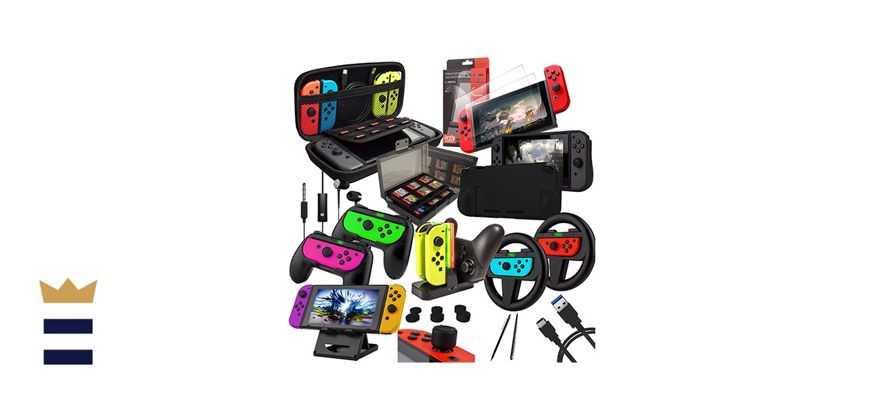 Switch Accessories Bundle - Orzly Geek Pack for Nintendo Switch
