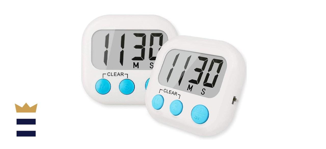 2 Pack Digital Kitchen Timer for Cooking Big Digits Loud Alarm
