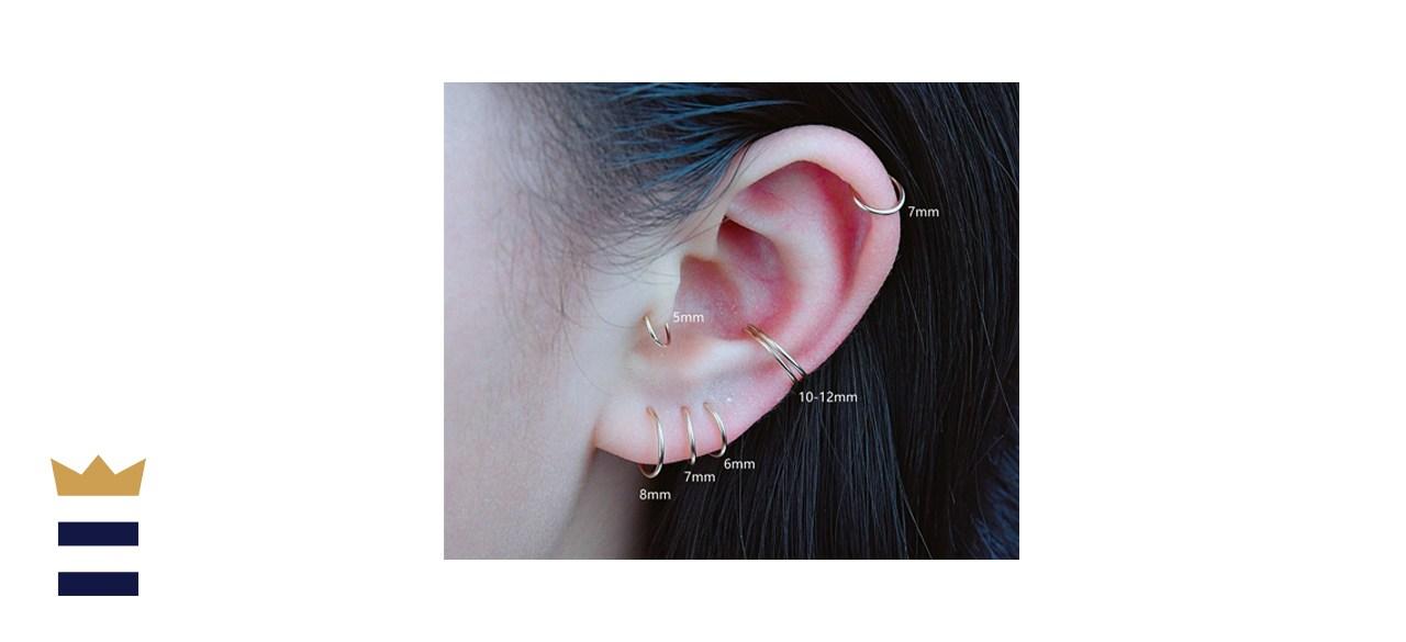 LuckyJewUS Tiny Hoop Mini Gold Hoop Earrings