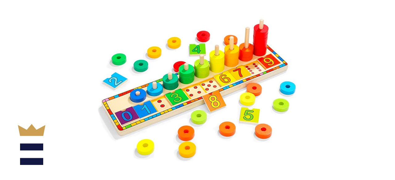 Top Bright Wooden Count & Match Numbers