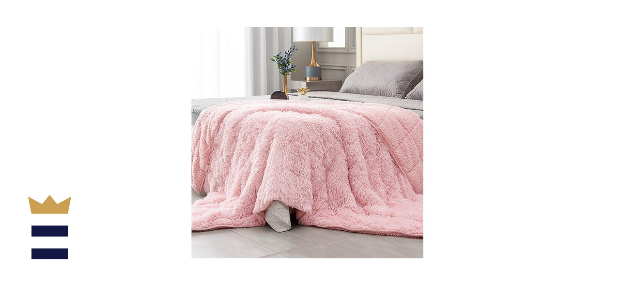 Topblan Fuzzy Faux Fur Weighted Blanket