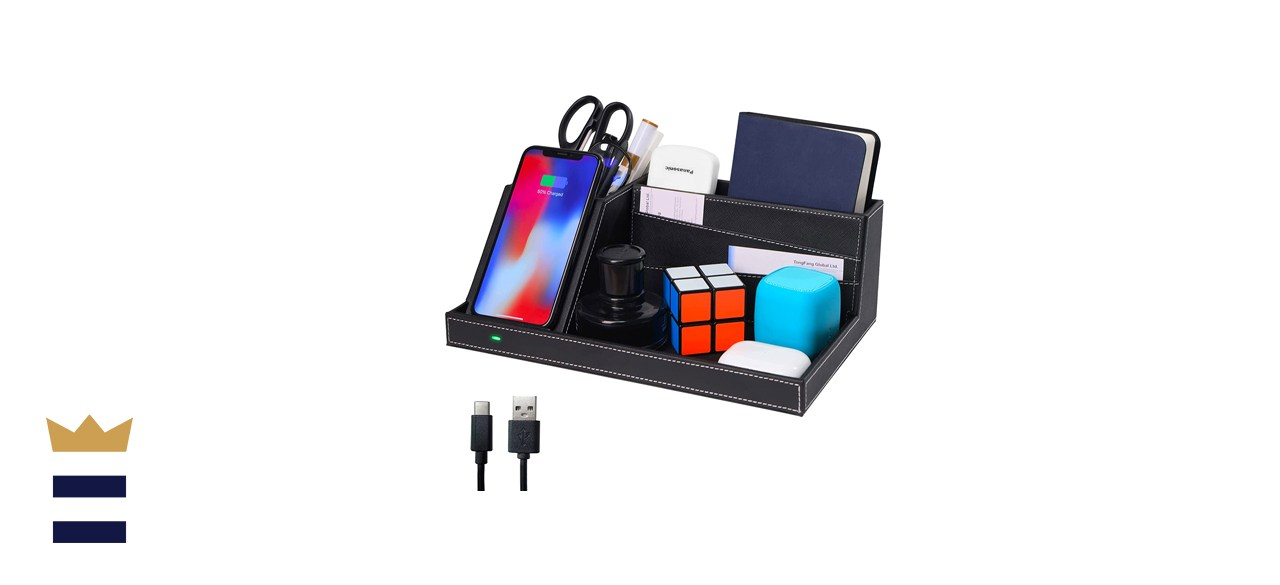 Topmade Fast Wireless Charger with Desk Organizer