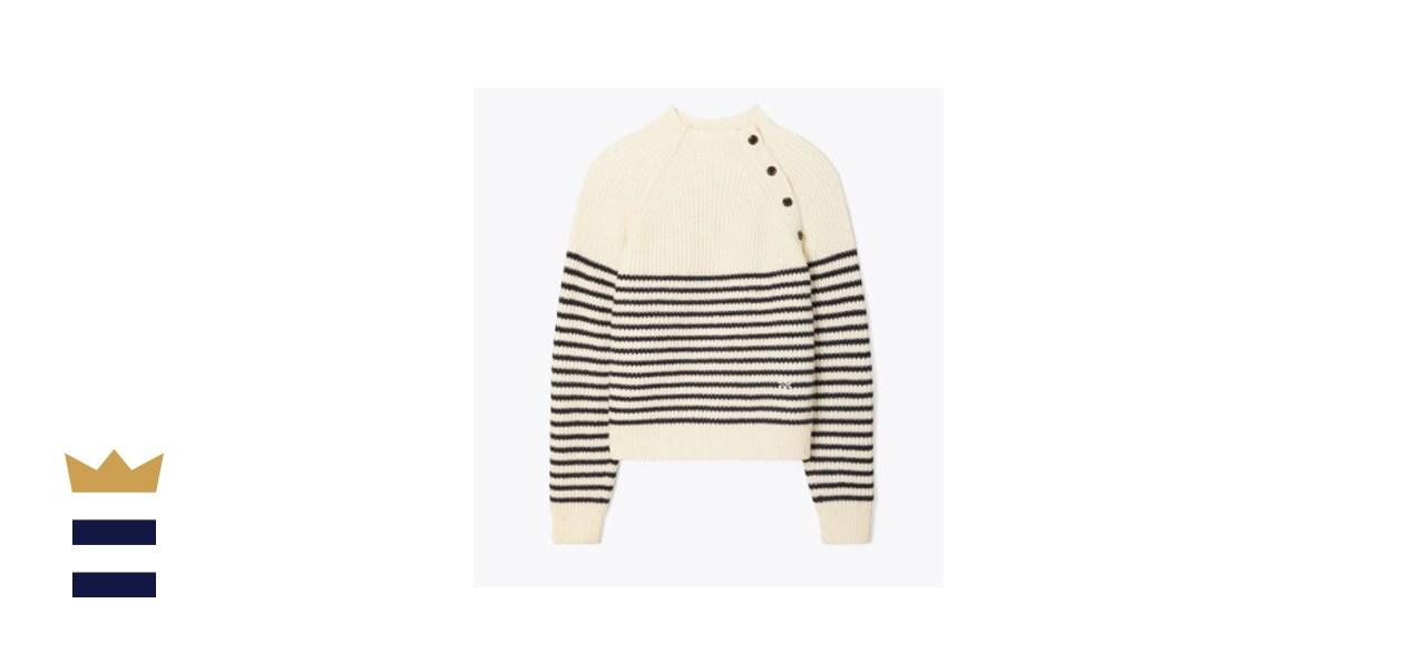 Tory Burch Breton-Stripe Merino Mock-Neck Sweater