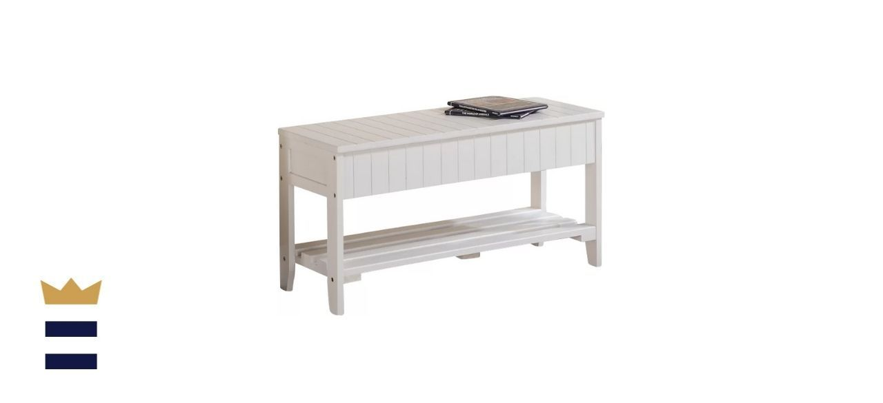 Andover Mills White Toucha Wood Storage Bench