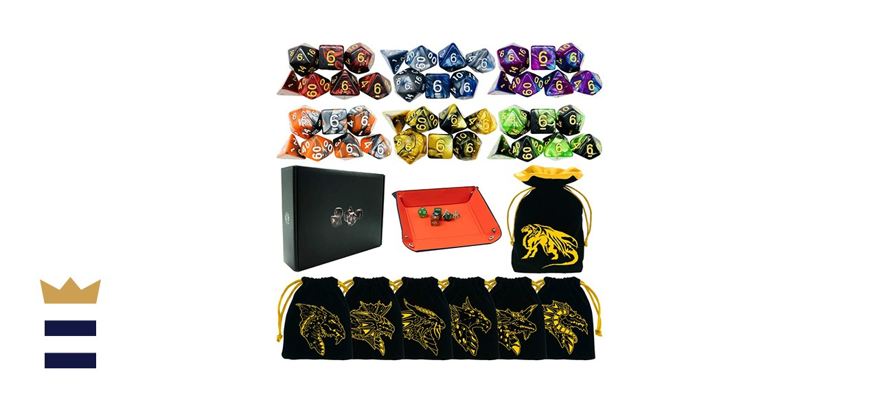 TOYFUL Six-Pack of Seven-Piece Tabletop Game Polyhedral DnD Dice Set Bundle