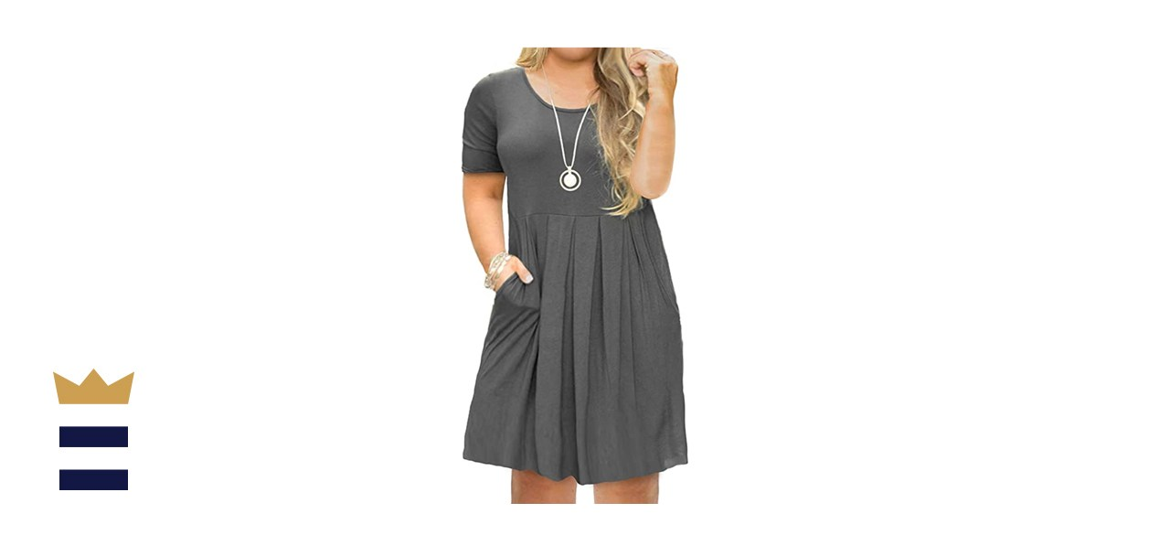 Tralilbee Plus-Size Short Sleeve Pleated Swing Dress