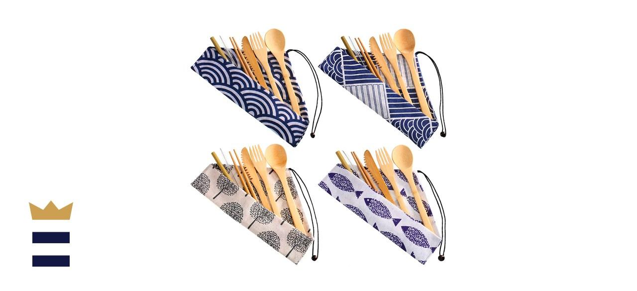4 Sets Bamboo Travel Utensils Set