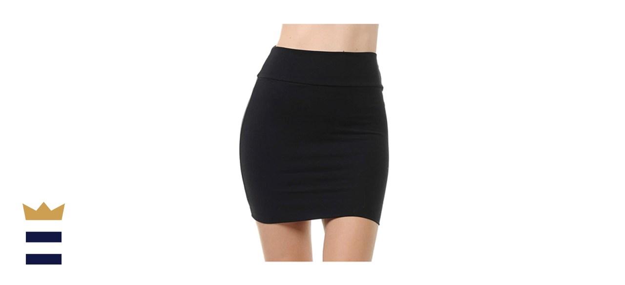 Trendy Street Cotton Simple Stretchy Tube Pencil Miniskirt