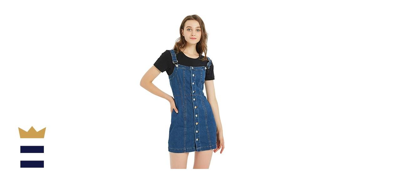 Tronjori Button-Front Classic Denim Overall Dress