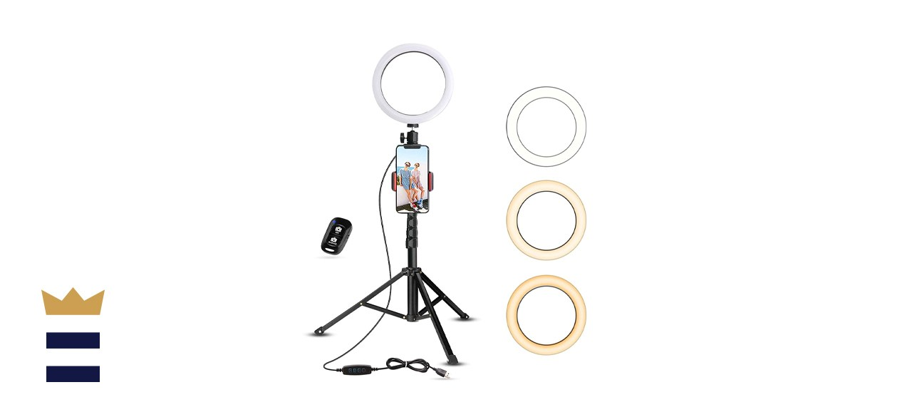 UBeesize Selfie Ring Light with Tripod Stand & Cell Phone Holder for Live Stream