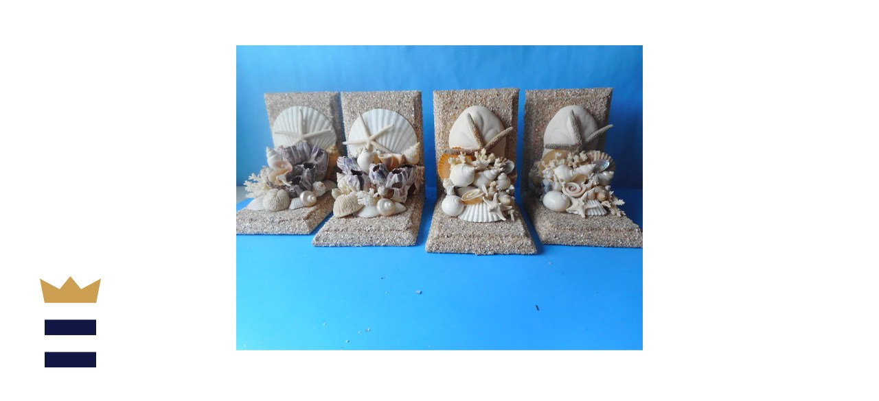 UniqueCoastalDesigns Nautical Sea Shell Bookends