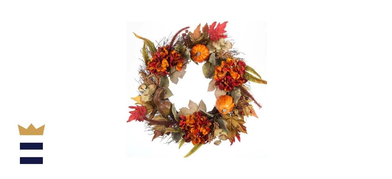 Unlit Artificial Hydrangea and Pumpkin Fall Wreath