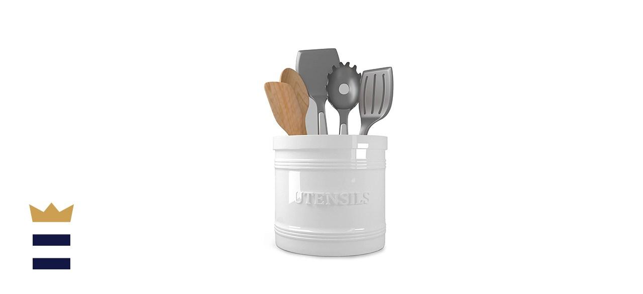 Utensil Holder for Countertop Porcelain Utensil Caddy Utensil Crock Large Size for Kitchen Storage