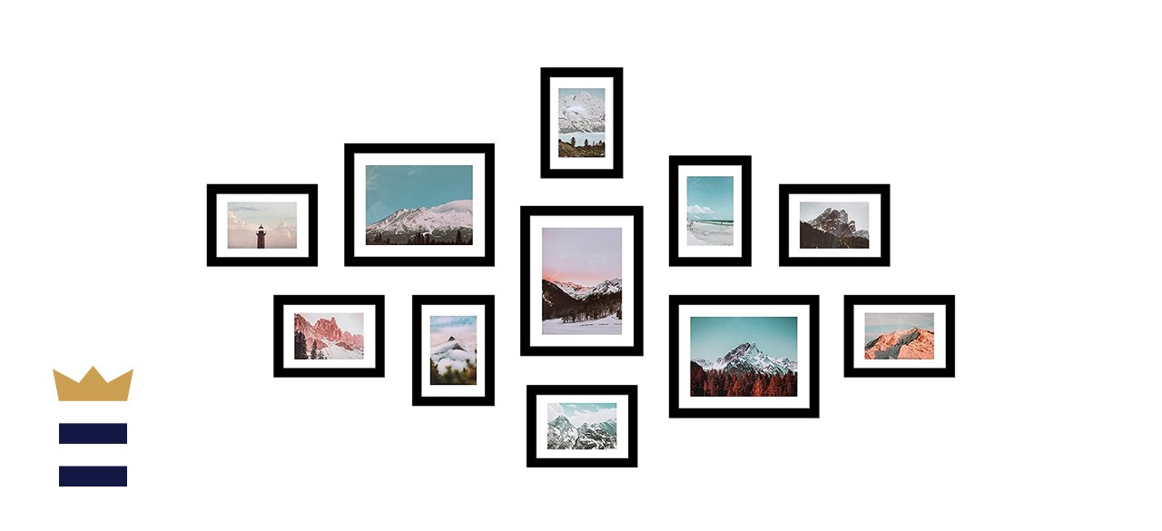 11 Pack Wooden Picture Frames 5x7 8x10 Gallery Wall Photo Frames Set with Hanging Template