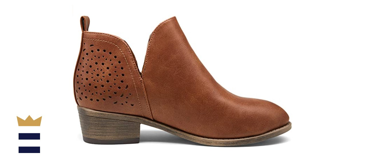 Vepose Low Heel Chunky Ankle Boots in Brown