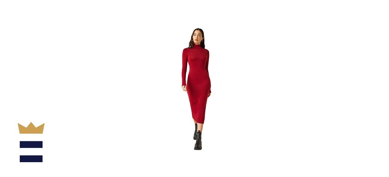 Verdusa Basic High Neck Long Sleeve Pencil Bodycon Dress