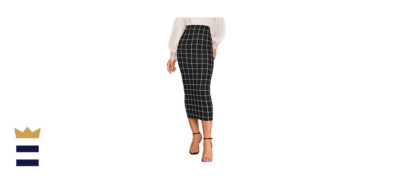 Verdusa Elegant Plaid Elastic Waist Bodycon Midi Skirt