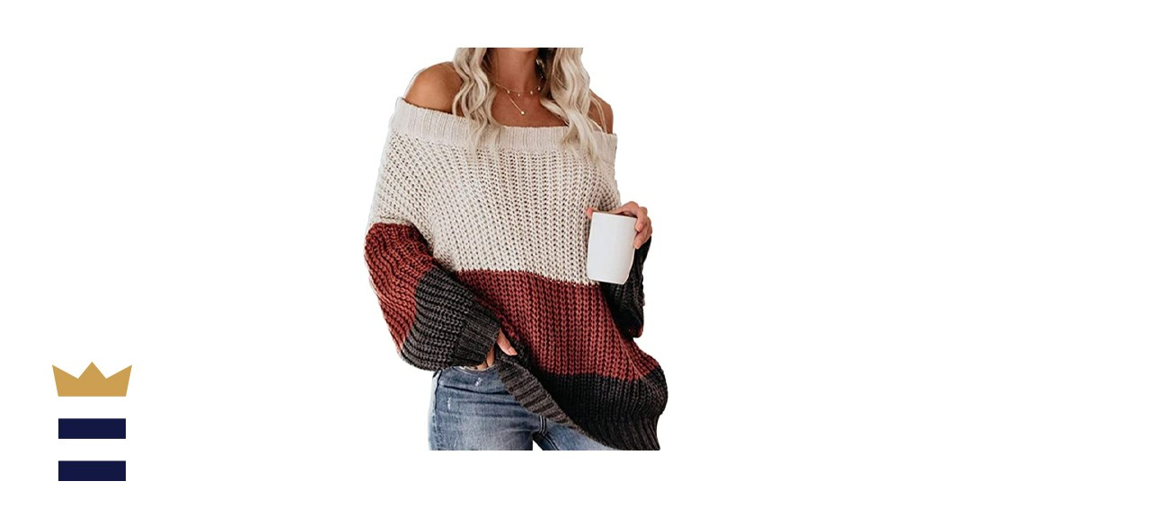 VIMPUNEC Women's Oversized Off The Shoulder Color Block Sweater