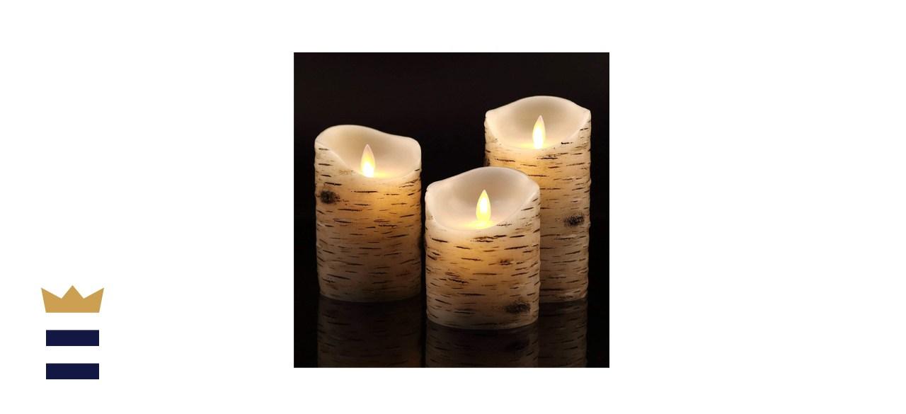 Vinkor Flameless Flickering Birch Bark Candles