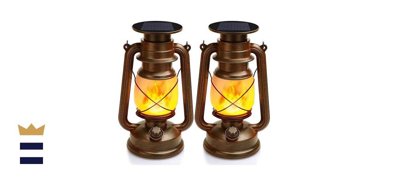 TOFU LED Vintage Flickering Flame Outdoor Hanging Lanterns