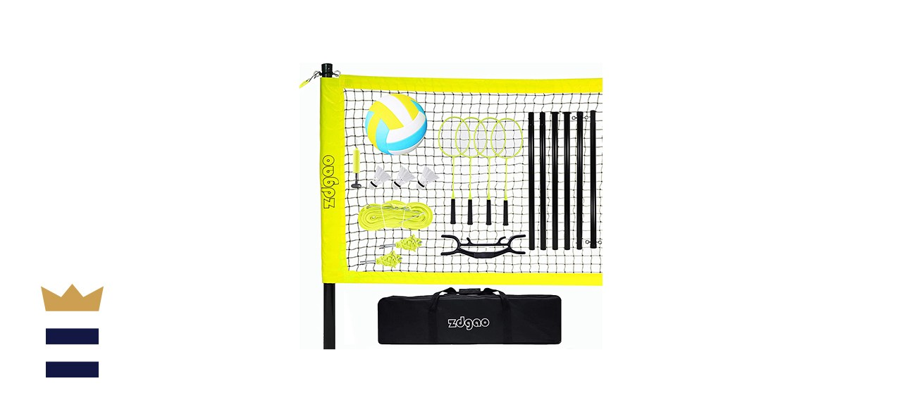Volleyball and Badminton Set for Backyard and Outdoors