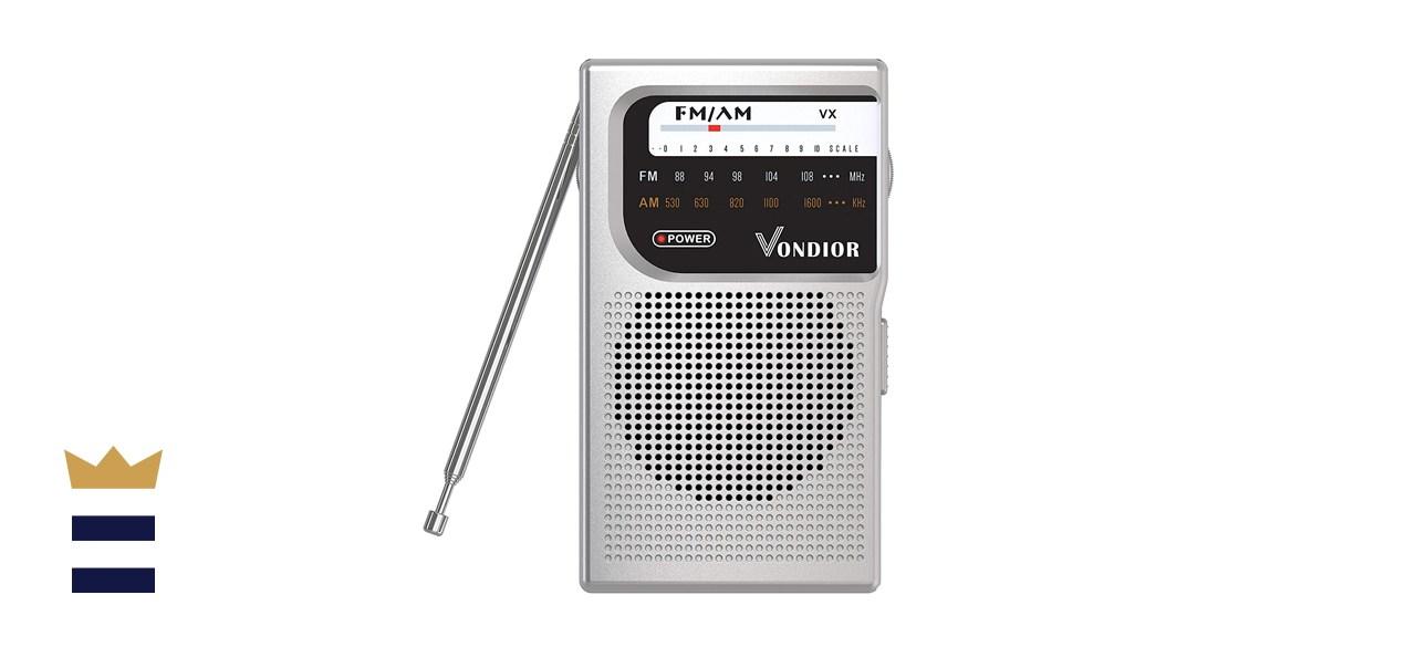 Vondior AM/FM Battery Operated Portable Pocket Radio