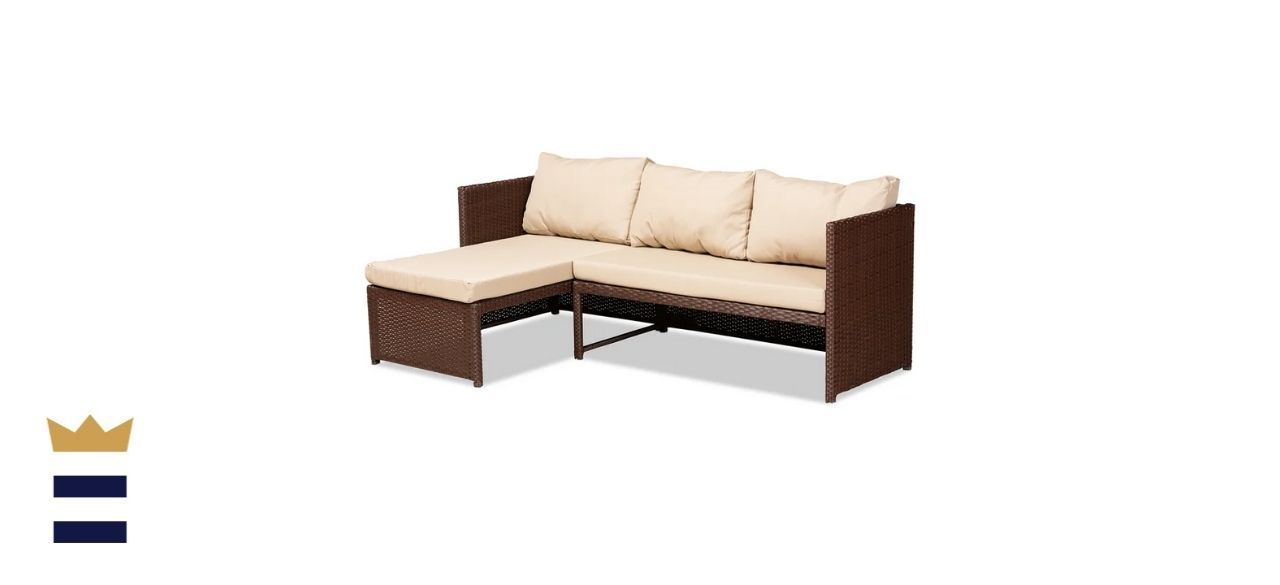 Wade Logan Fincham Wicker/Rattan 3-Person Seating Group with Cushions