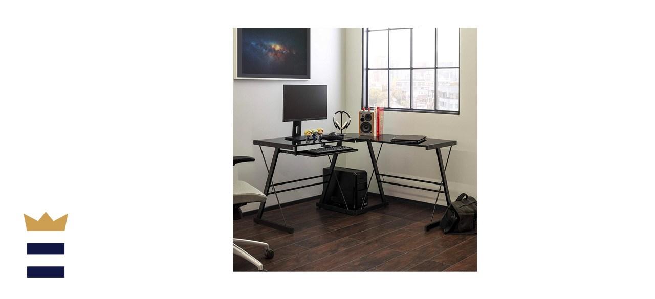 Walker Edison Ellis Modern Glass Top L Shaped Corner Gaming Desk