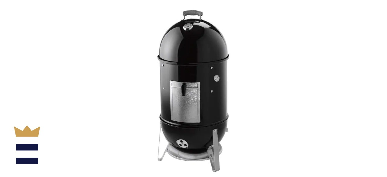 Webber 18 in. Smokey Mountain Cooker Smoker in Black with Cover and Built-In Thermometer