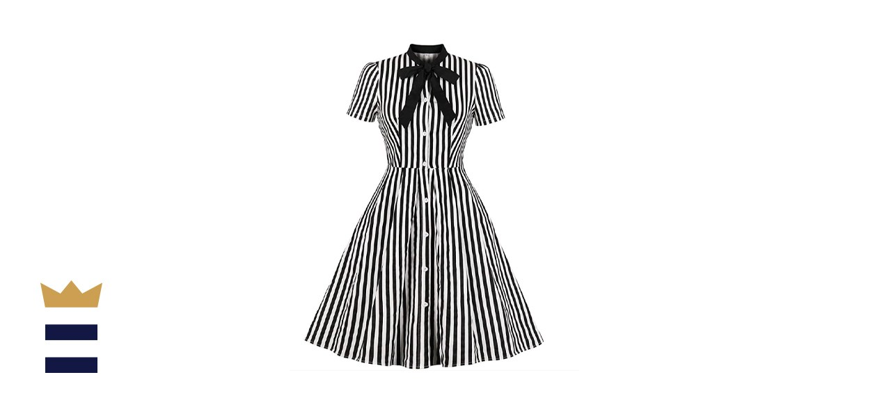 Wellwits Women's Tie Neck Pocket Vintage Button Down Shirt Dress