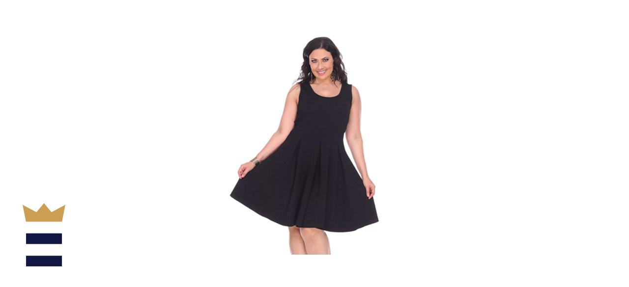 White Mark Plus-Size Pleated Fit & Flare Dress