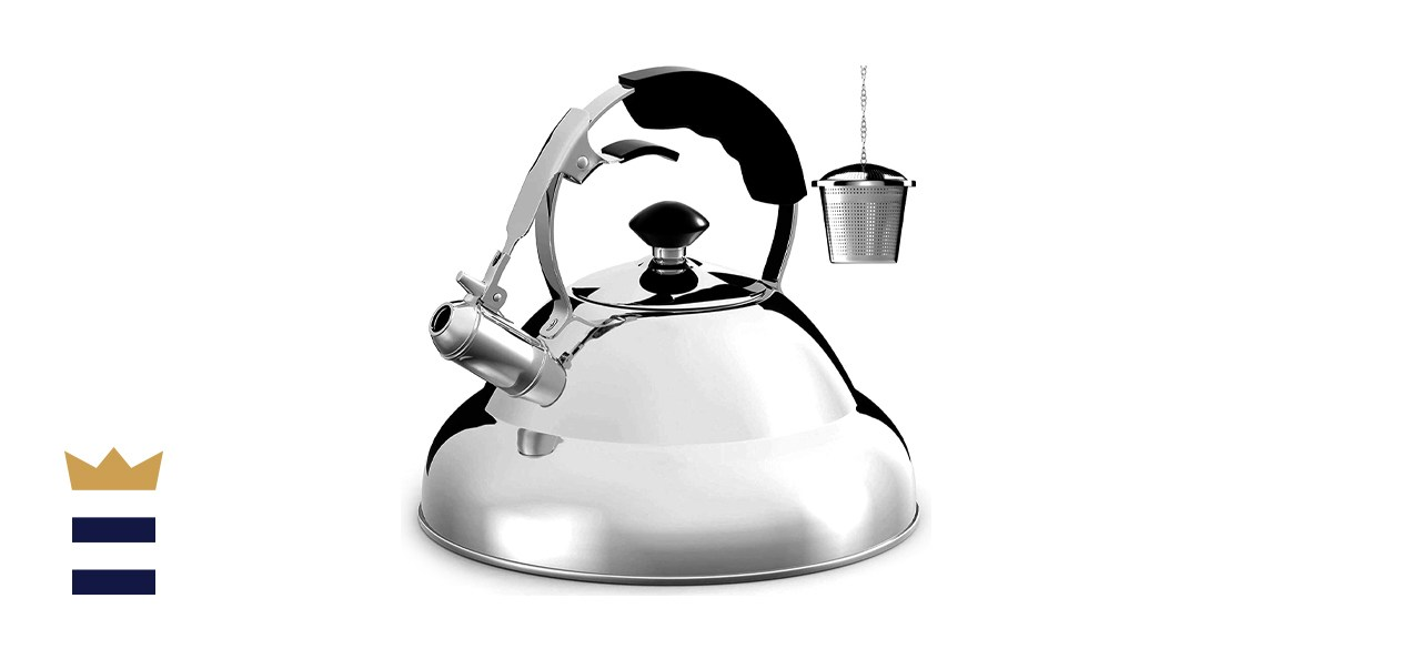 Willow & Everett High-Polished Stainless Steel Whistling Teapot with Capsule Bottom
