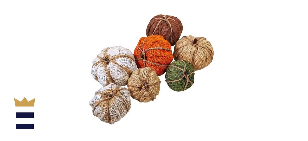 Winlyn 7 Pcs Assorted Burlap Pumpkin Ornaments