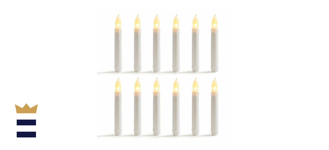 Winston Porter Warm LED Unscented Taper Candle (Set of 12)
