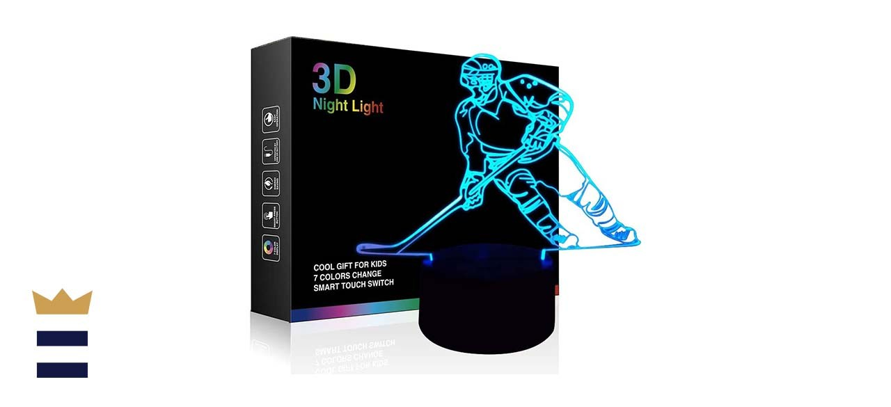 Hockey Night Light, Ticent Hockey Player 3D Lamp Lighting for Kids