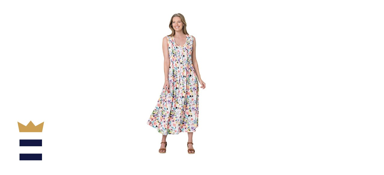 Woman Within Plus Size Pintucked Floral Sleeveless Dress