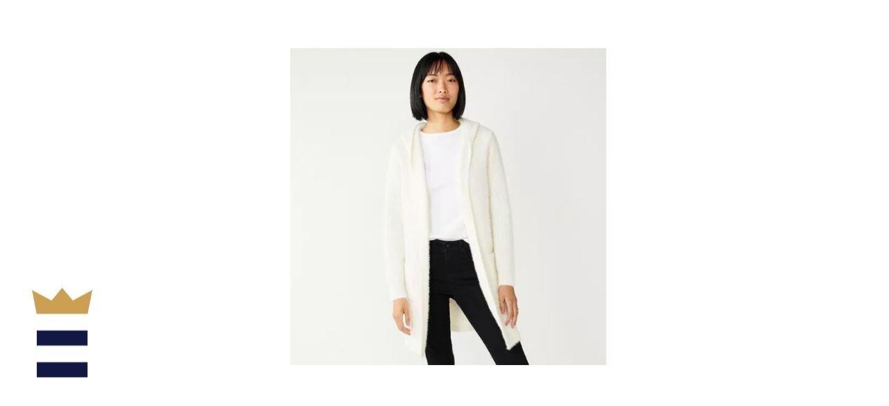 Women's Nine West Sweater Hooded Car Coat Cardigan