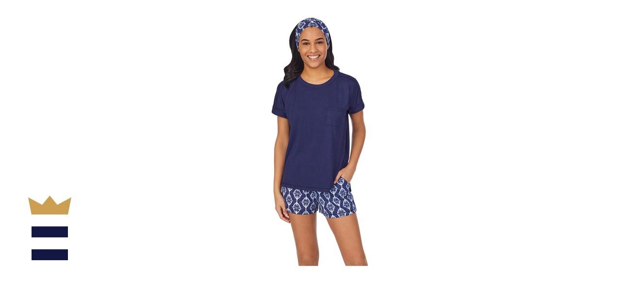 Women's Cuddl Duds® Headband, Pajama Tee & Pajama Boxer Shorts Set