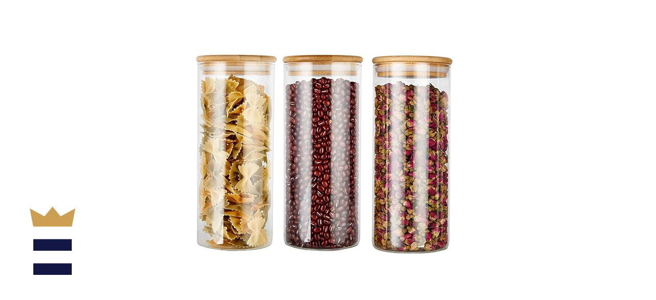 Glass Food Storage Jars Containers with Airtight Bamboo Lids
