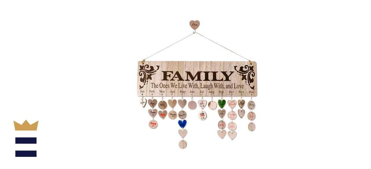 Wooden Family Birthday Reminder Tracker