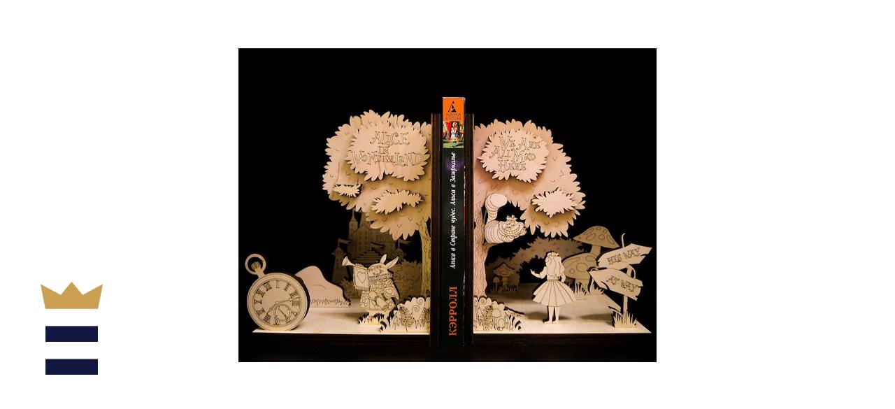 WoodenStork Alice Literary Bookends