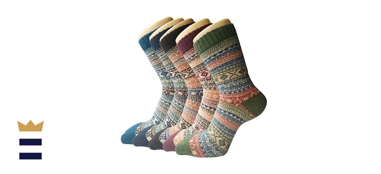 5 Pack Womens Warm Wool Socks