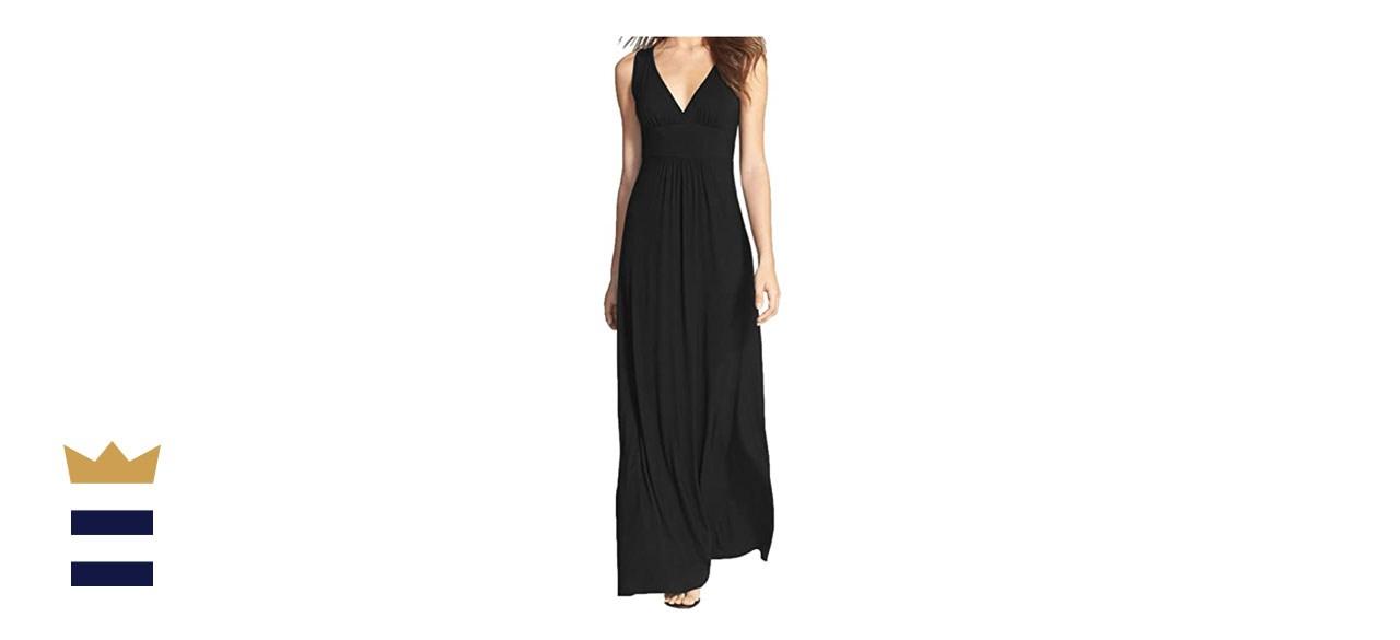 WOOSEA Sleeveless Deep V-Neck Maxi Dress