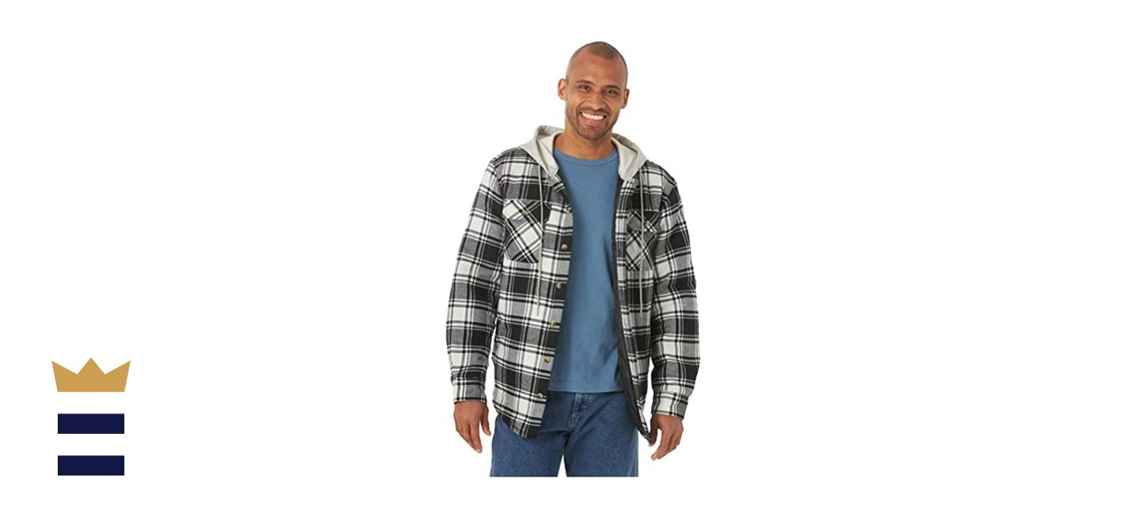 Wrangler Authentic Men's Long Sleeve Flannel Jacket in Caviar